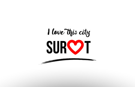 Beaituful typography design of city surat name logo with red heart suitable for tourism or visit promotion Illustration
