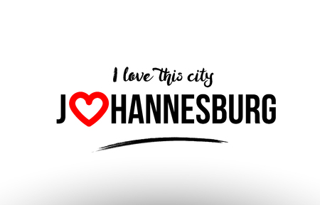 Beaituful typography design of city johannesburg name logo with red heart suitable for tourism or visit promotion