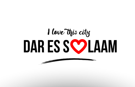 Beaituful typography design of city dar es salaam name logo with red heart suitable for tourism or visit promotion Ilustrace