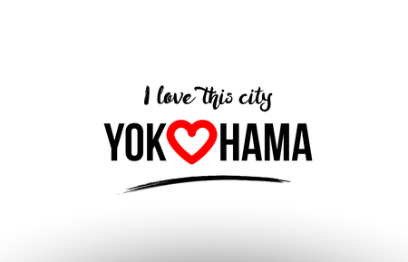 Beautiful typography design of city Yokohama name icon with red heart. Suitable for tourism or visit promotion. Illustration