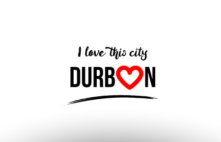 Beautiful typography design of city Durban name icon with red heart suitable for tourism or visit promotion.