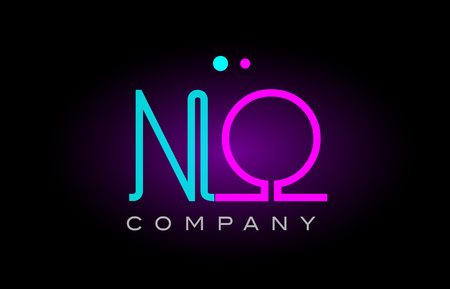 Alphabet no n o letter logo design combination with neon light effect in blue and pink color suitable for a company banner or branding purposes
