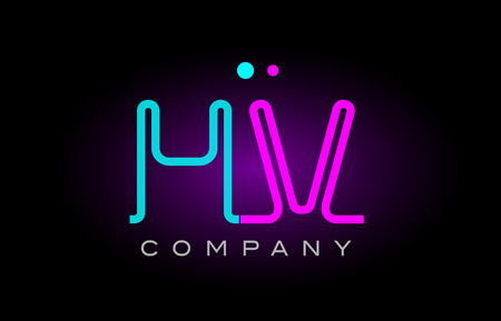 Alphabet hv h v letter logo design combination with neon light effect in blue and pink color suitable for a company banner or branding purposes Logó