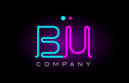 Alphabet letter BU icon design combination with neon light effect in blue and pink color. suitable for a company banner or branding purposes.