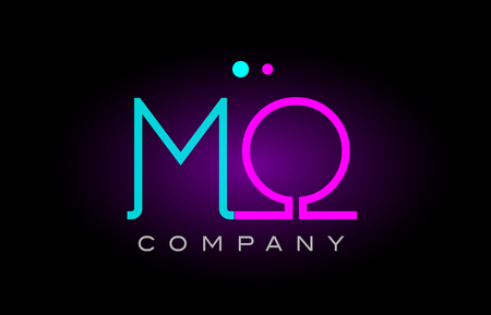 Alphabet letter MO icon design combination with neon light effect in blue and pink color. suitable for a company banner or branding purposes.