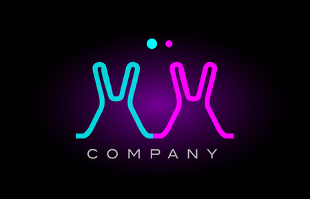 Alphabet xx x x letter logo design combination with neon light effect in blue and pink color suitable for a company banner or branding purposes