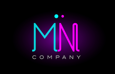 Alphabet mn m n letter logo design combination with neon light effect in blue and pink color suitable for a company banner or branding purposes Illustration