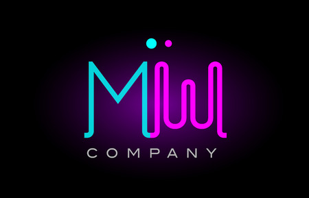 Alphabet mw m w letter logo design combination with neon light effect in blue and pink color suitable for a company banner or branding purposes