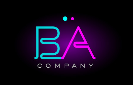 Alphabet letter BA icon design combination with neon light effect in blue and pink color. suitable for a company banner or branding purposes.