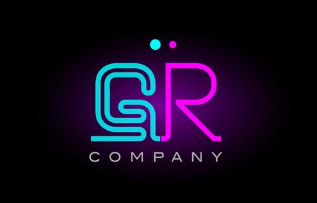 Alphabet gr gr lettre combinaison de logo avec effet de lumière néon de couleur bleu et rose, adapté à une bannière ou à une image de marque Banque d'images - 91548356