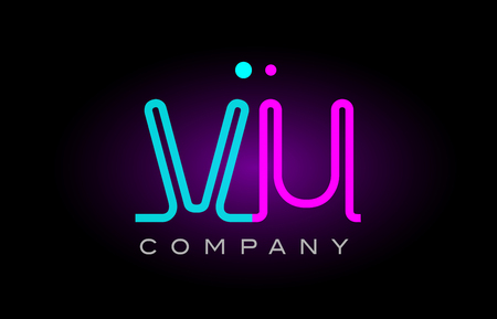 Alphabet vu v u letter logo design combination with neon light effect in blue and pink color suitable for a company banner or branding purposes