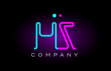 Alphabet letter HZ icon design combination with neon light effect in blue and pink color. suitable for a company banner or branding purposes.