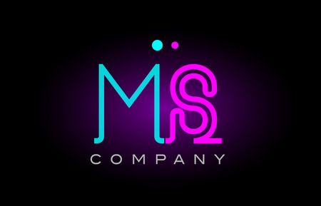 Alphabet ms m s letter logo design combination with neon light effect in blue and pink color suitable for a company banner or branding purposes