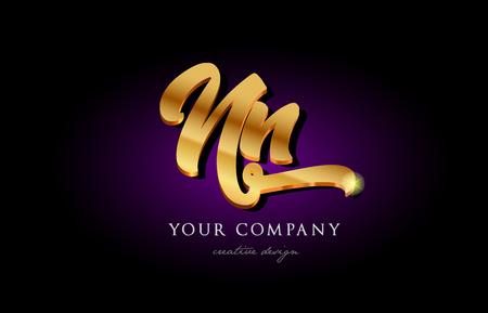 Nn n n alphabet combination letter logo in gold golden 3d metal beautiful typography suitable for banner brochure design