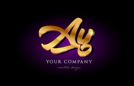 Ay a y alphabet combination letter logo in gold golden 3d metal beautiful typography suitable for banner brochure design