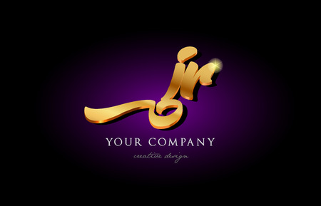Alphabet combination letter JR icon in gold, golden 3d metal. Beautiful typography suitable for banner, brochure design.