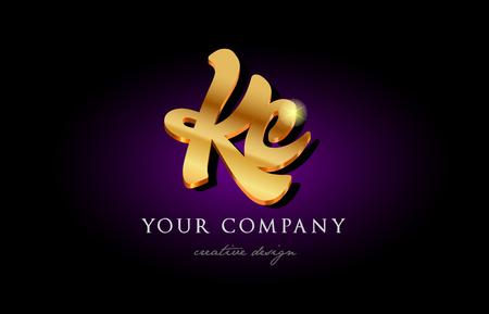 バナーパンフレットデザインに適した金色の3Dメタル美しいタイポグラフィのKc kアルファベットの組み合わせ文字のロゴ