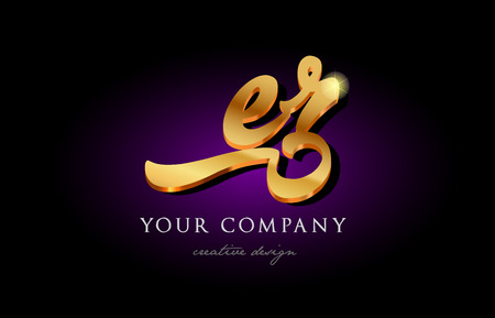 Er e r alphabet combination letter logo in gold golden 3d metal beautiful typography suitable for banner brochure design