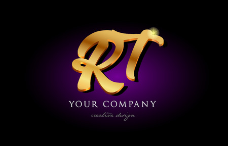 Alphabet combination letter RT icon in golden 3d metal typography. Suitable for banner and brochure design.