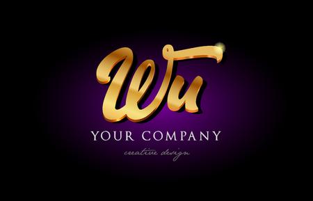 Wu w u alphabet combination letter logo in gold golden 3d metal beautiful typography suitable for banner brochure design