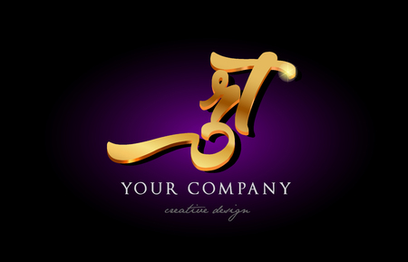 rt r t  alphabet combination letter logo in gold golden 3d metal beautiful typography suitable for banner brochure design