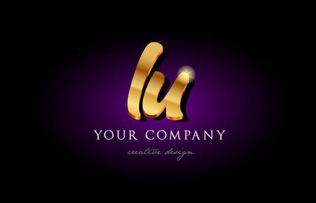 lu  l u alphabet combination letter logo in gold golden 3d metal beautiful typography suitable for banner brochure design