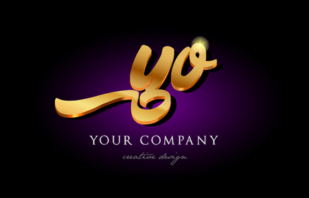 Alphabet combination letter YO icon in golden 3d metal typography. Suitable for banner and brochure design. Illustration