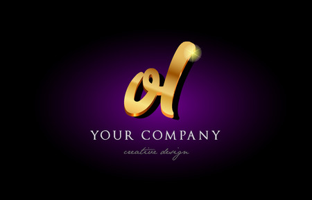 Alphabet combination letter OL icon in golden 3d metal typography. Suitable for banner and brochure design.