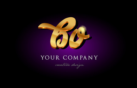 Alphabet combination letter BO icon in golden 3d metal typography. Suitable for banner and brochure design.