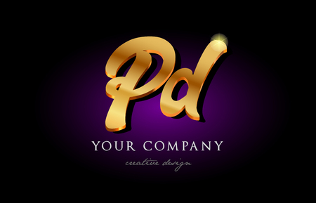 Alphabet combination letter PD icon in golden 3d metal typography. Suitable for banner and brochure design.