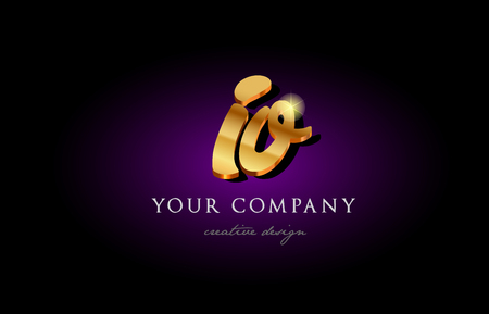 Alphabet combination letter IO icon in golden 3d metal typography. Suitable for banner and brochure design.