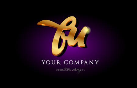 bu b u  alphabet combination letter logo in gold golden 3d metal beautiful typography suitable for banner brochure design