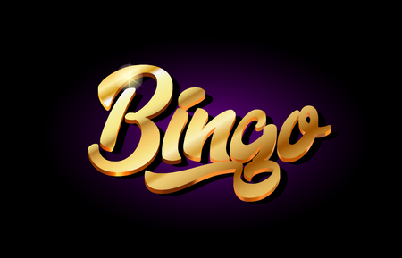 bingo word text logo in gold golden 3d metal beautiful typography suitable for banner brochure design Ilustrace