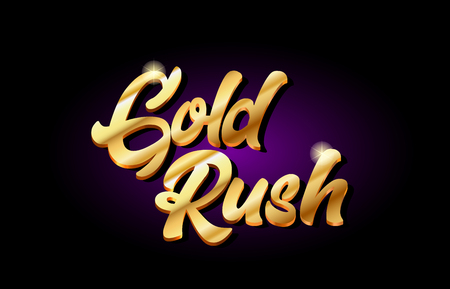 gold rush word text logo in gold golden 3d metal beautiful typography suitable for banner brochure design Ilustração