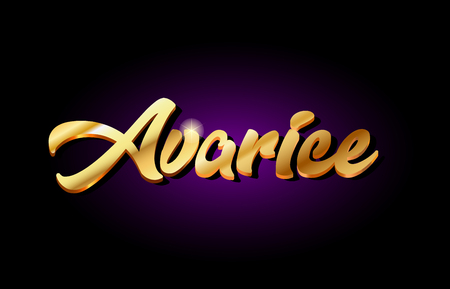 avarice word text logo in gold golden 3d metal beautiful typography suitable for banner brochure design Ilustrace