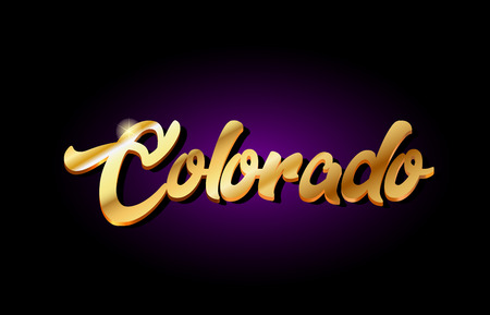 colorado word text logo in gold golden 3d metal beautiful typography suitable for banner brochure design