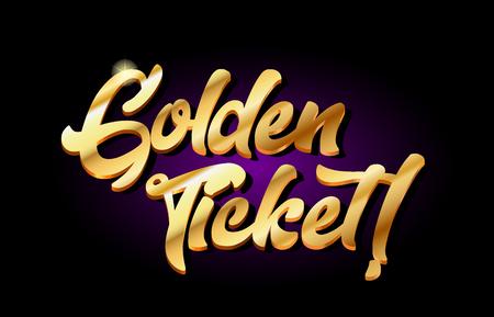 Golden ticket word text logo in gold golden 3d metal beautiful typography suitable for banner brochure design