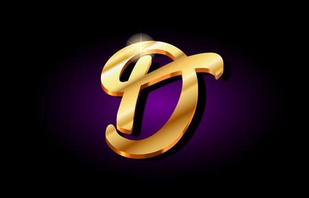 d alphabet letter logo in gold golden 3d metal beautiful typography suitable for banner brochure design Stock Illustratie