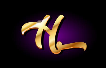 h alphabet letter logo in gold golden 3d metal beautiful typography suitable for banner brochure design Vettoriali