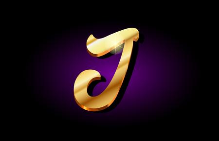 j alphabet letter logo in gold golden 3d metal beautiful typography suitable for banner brochure design Vettoriali