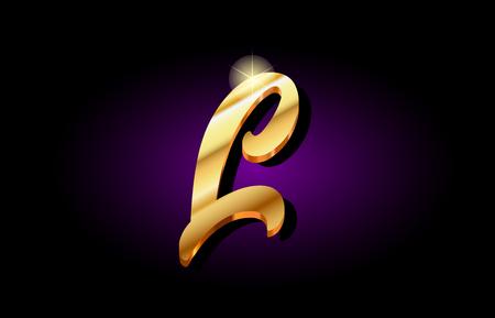 l alphabet letter logo in gold golden 3d metal beautiful typography suitable for banner brochure design 일러스트