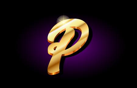 p alphabet letter logo in gold golden 3d metal beautiful typography suitable for banner brochure design