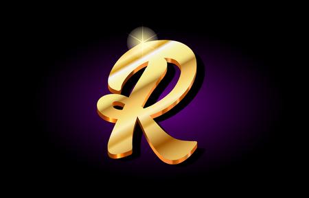 r alphabet letter logo in gold golden 3d metal beautiful typography suitable for banner brochure design