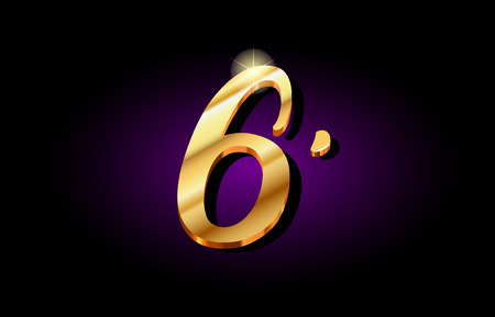 6 six number numeral digit logo in gold golden 3d metal beautiful typography suitable for banner brochure design