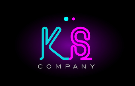 Alphabet ks k s letter logo design combination with neon light effect in blue and pink color suitable for a company banner or branding purposes Ilustrace