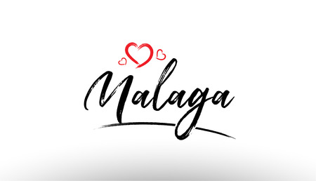 Beautiful hand written text typography design of europe european city malaga name logo with red heart suitable for tourism or visit promotion