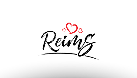 Beautiful hand written text typography design of europe european city reims name logo with red heart suitable for tourism or visit promotion Illustration