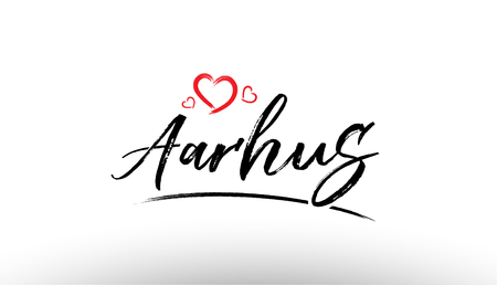 Beautiful hand written text typography design of europe european city aarhus name logo with red heart suitable for tourism or visit promotion