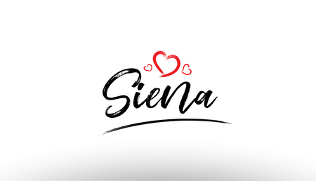 Beautiful hand written text typography design of europe european city siena name logo with red heart suitable for tourism or visit promotion