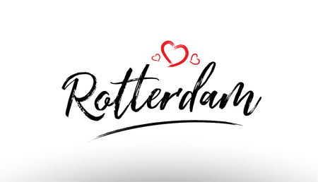 Beautiful hand written text typography design of europe european city rotterdam name logo with red heart suitable for tourism or visit promotion